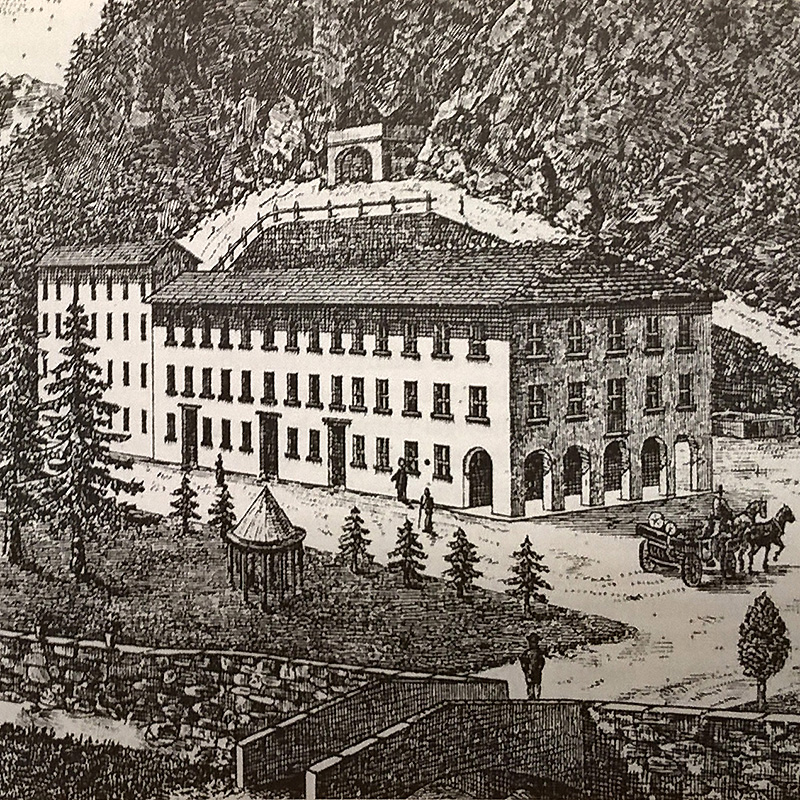Un'antica stampa con le Terme della Val Masino